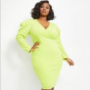 Lime Punch Puff Sleeve midi dress